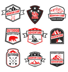 set of extreme adventure badges mountains vector image