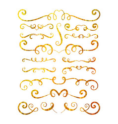 set of gold textured hand drawn vignettes vector image