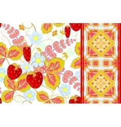 Set of strawberries seamless hand drawn vector image