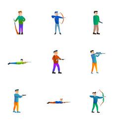 shooting sport icon set cartoon style vector image