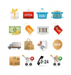 shopping set vector image vector image