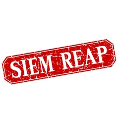 Siem Reap red square grunge retro style sign vector