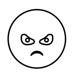 silhouette emoticon face furious expression vector image