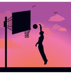 Silhouette man athlete player jump action basket vector