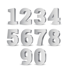 Silver 3d numbers vector
