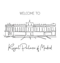 single continuous line drawing royal palace of vector image