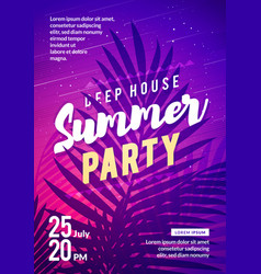 summer party flyer palm leaf in background vector image