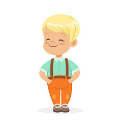 Sweet smilng little blonde boy standing colorful vector