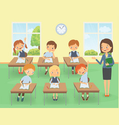 Teacher with pupils at a lesson vector