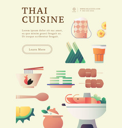 Thai food poster template vector