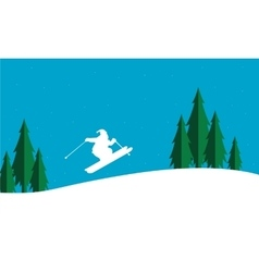 The ski christmas scenery silhouettes vector