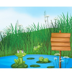 Three playful frogs at the pond beside an empty vector