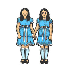 twins girls like sketch engraving vector image