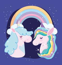 unicorns stars and rainbow dream magic decoration vector image