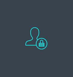 user authentication concept blue line icon simple vector image