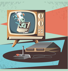 Video game retro with tv vector
