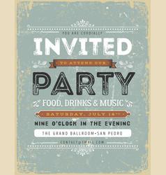 Vintage invitation sign vector