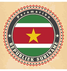 Vintage label cards of Suriname flag vector