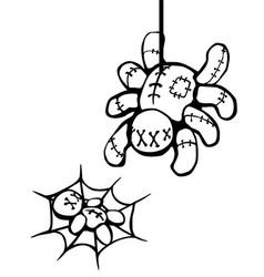 Voodoo doll spider prey stencil vector