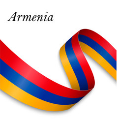 Waving ribbon or banner with flag vector