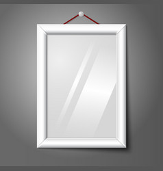 white isolated vertical photo frame hanging on the vector image