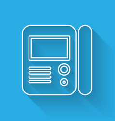 White line house intercom system icon isolated vector