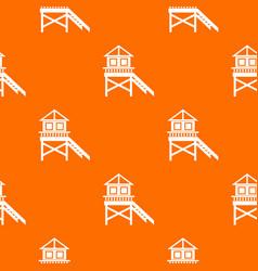 Wooden stilt house pattern seamless vector