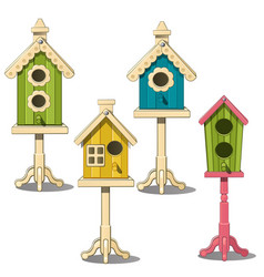 birdhouses on stand green yellow blue bird house vector image