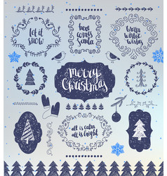 christmas hand drawn design elements vector image