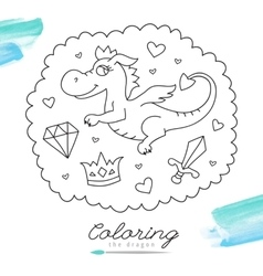 dragon for coloring vector image vector image