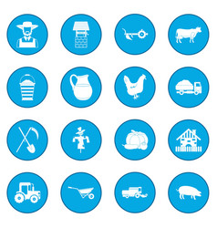farm black icon blue vector image vector image