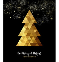 Gold Christmas tree design in gold low poly style vector image