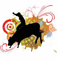 grunge bull ride vector image vector image