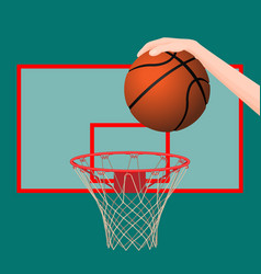 hand throwing ball in basketball hoop colorful vector image
