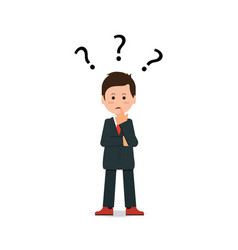businessman with question mark pondering problem vector image vector image