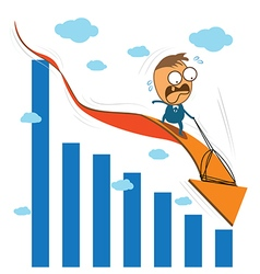Cute character businessman fearfully riding on vector image vector image