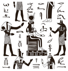 pattern with egyptian gods and hieroglyphs vector image vector image