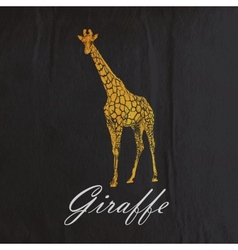 vintage of an orange giraffe on the old blac vector image vector image