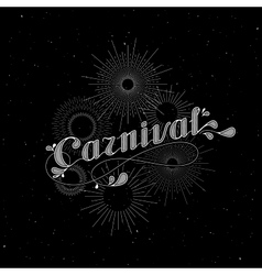 Carnival and light rays or fireworks label vector