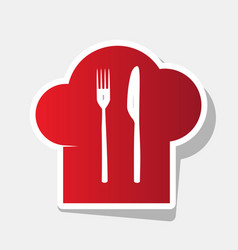 chef hat and spoon fork knife sign new vector image