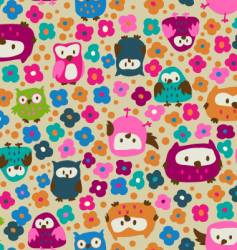 cute owls and ditsy flowers vector image vector image