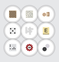 flat icon play set of poker chess table vector image