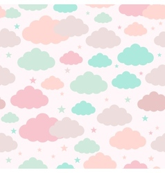 Childish seamless background with clouds and stars vector image