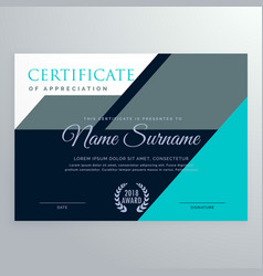 Elegant appreciation certificate template design vector