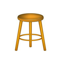 wooden stool in retro design vector image vector image