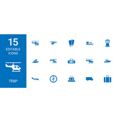 15 trip icons vector