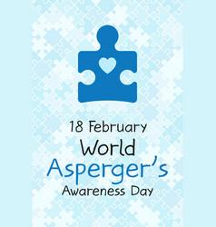18 february world aspergers awareness day banner vector