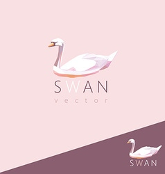 3d origami low polygon swan vector image