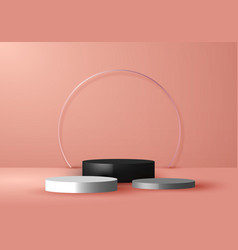 3d studio room empty product stand platform vector