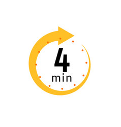 4 minutes clock quick number icon 4min time vector image